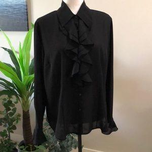 Black ruffle blouse size 14 Mantles